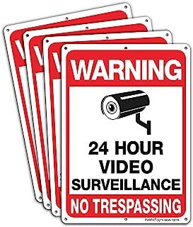 """Medium 2-3//4/"""" x 7/"""" Standard Property Under 24 Video Surveillance White Red"""