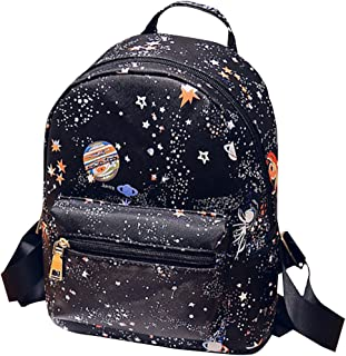 Aisa Girls Star Universe Space Printing Backpack PU Leather Mini Shoulder Handbag Casual School Daypack