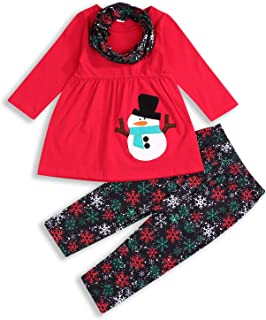 Thanksgiving/Christmas Outfit Toddler Baby Girl Long Sleeve Snowman/Turkey T-Shirt Dress Snowflakes Pants Fall Winter Clothes