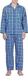 Mens Pajama Set Cotton Plaid Long Sleeve Button Down Casual Sleepwear Top & Bottom