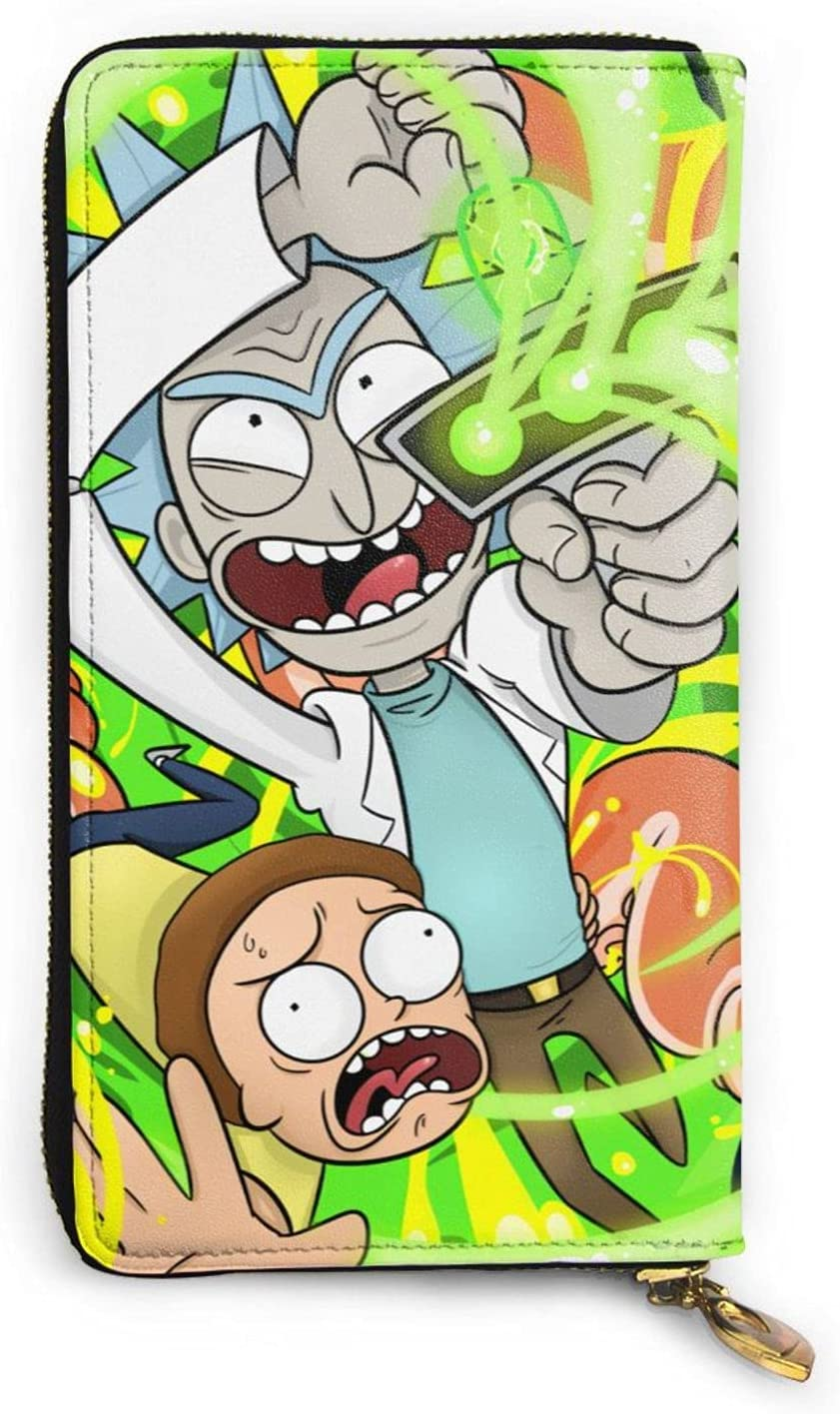 Cartoon Rick And A surprise price is Be super welcome realized Morty Zipper Genuine Wallet Leather Hand Long