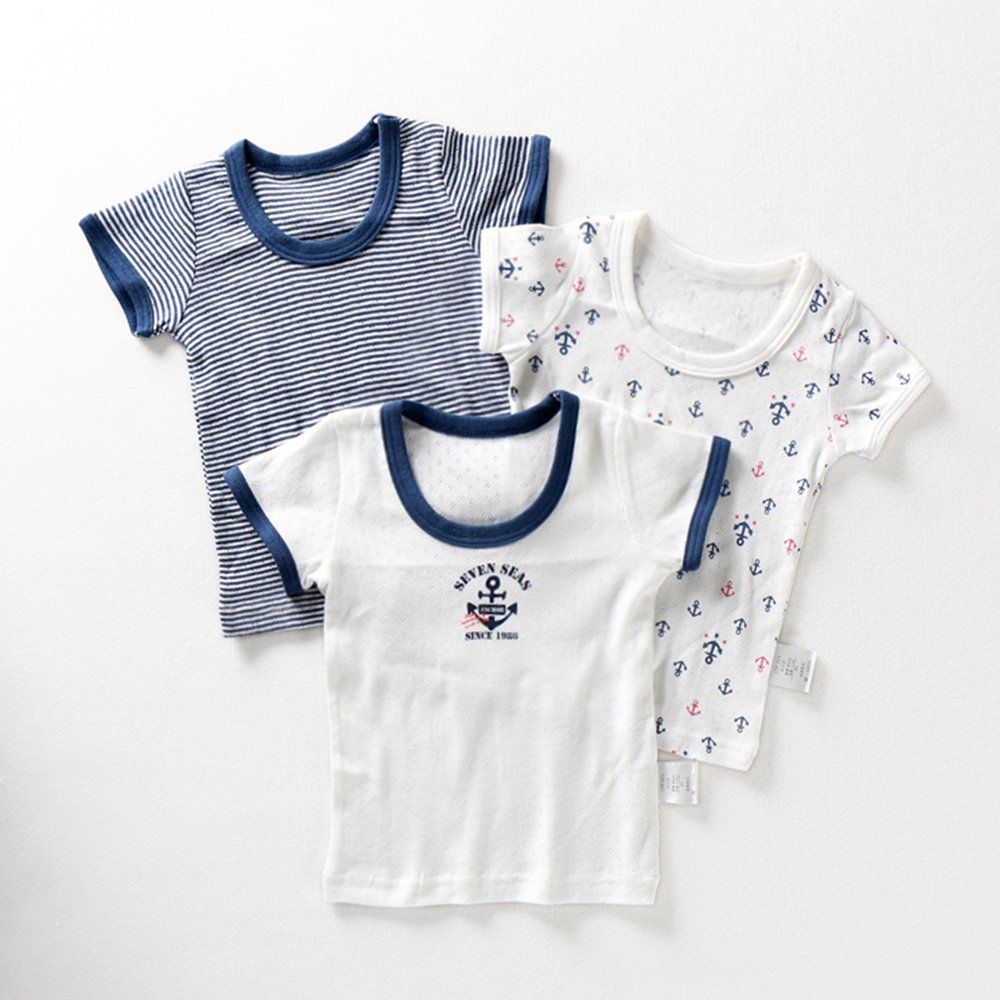 Naturhand Nanhe対外貿易輸出子供服ジャケット通気性と速乾性のTシャツ夏の赤ちゃんの半袖Tシャツの綿のクラスの男の子の汗思いやりのあるネイビー半袖服3枚
