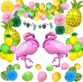 Decoración tropical hawaiana, SPECOOL 52PC Artículos para fiestas en la playa con piña colorida Flamingo Globos Palm Simulación Hojas Papel de banner Pompones para Luau Fiesta Selva Decoraciones