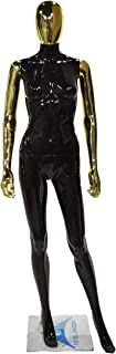 Yerse Female Mannequin Premium Full Body Store Display Dummy 5.8 ft (White and Black Color and Metal Mesh Head) M6 (Black-...