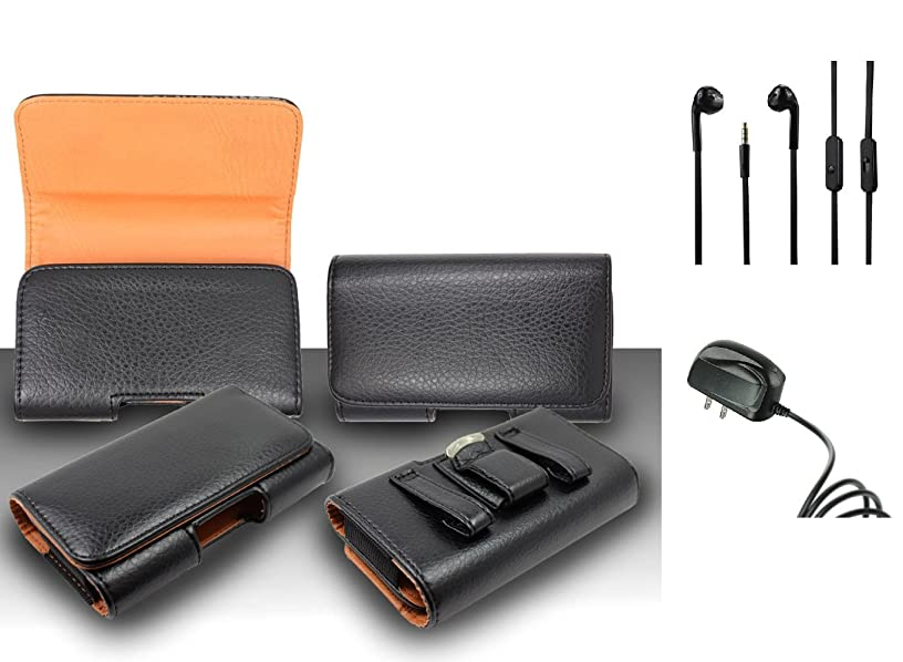 For Kyocera Hydro Wave C6740 Premium Classic Black Pebble Texture Leather Belt Case Clip Holster Pouch (Fit for Phone With Slim Case Together) + Travel Charger + 3.5MM Stereo Earphones