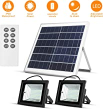 """Richarm Solar Led Flood Lights Outdoor Dusk to Dawn 15W 13.8"""" Solar Panels 800LM Dual 98 LED Lights with Remote IP65 Waterproof Solar Powered for Shed Barn Deck Flag Pole Pool Floodlights"""