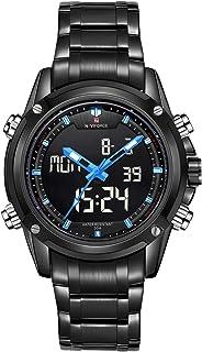 ساعة انالوج بمينا اسود وسوار من جلد البورلي يوريثين وتصميم كلاسيكي للرجال من نافي فورس، NF9050-BBBE
