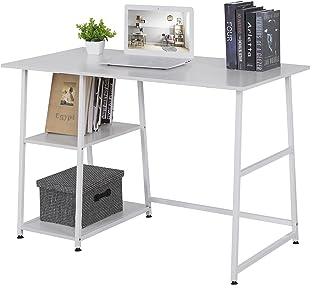 WOLTU Escritorio Mesa de Trabajo Mesa de Oficina Mesa de Ordenador portátil con 2 estantes, de Madera y Acero 120x60x76cm ...