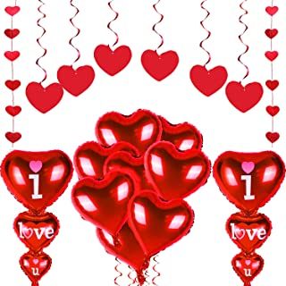 Zhanmai 18 Pieces Totally Valentine's Day Decoration Set, Include Hanging Heart Swirl, Heart Shape Foil Balloon and Heart Hanging Garland