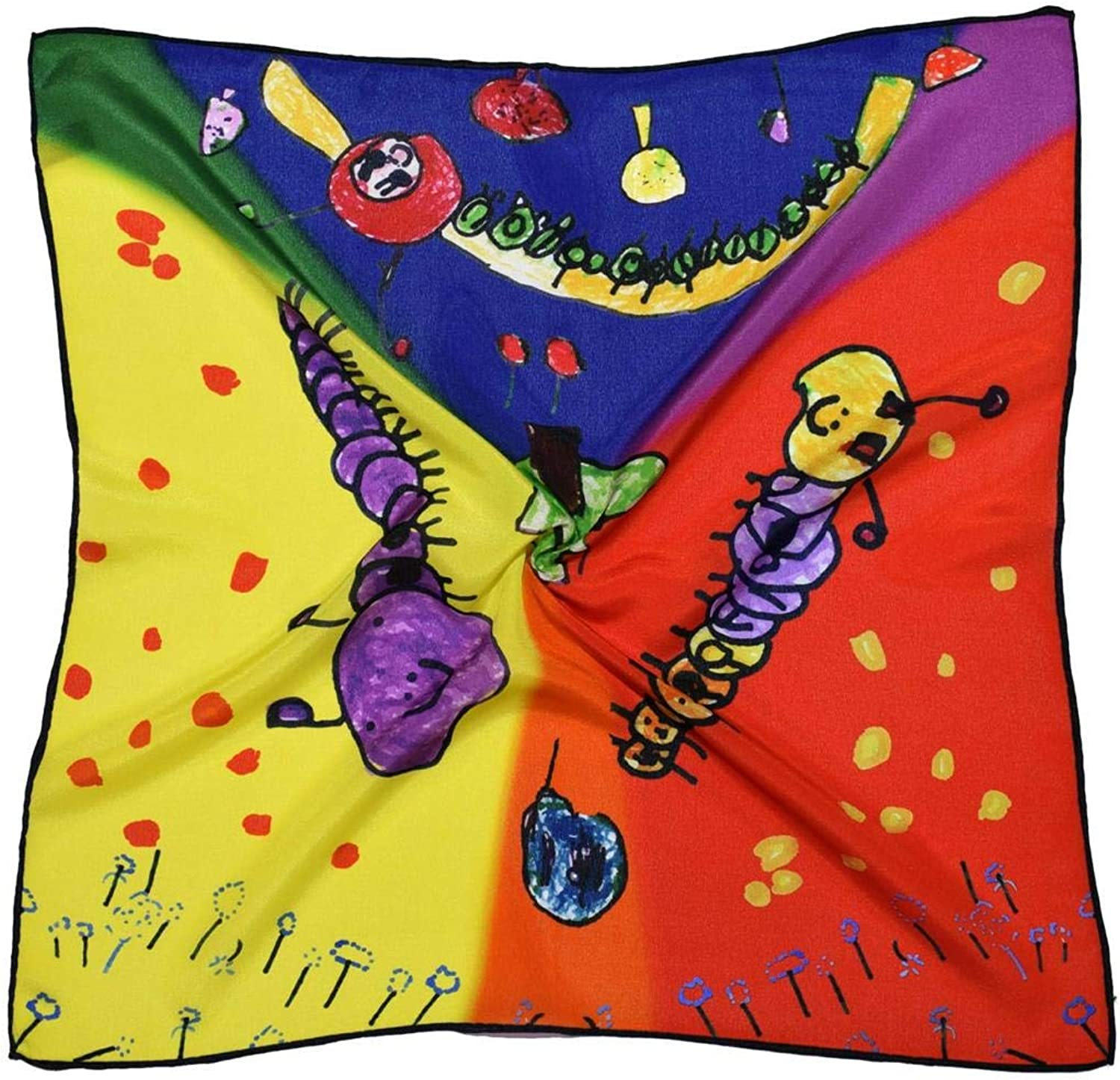 Bees Knees Fashion Yellow orange Caterpillar Thick Small Silk Square Scarf, Multicoloured, 53 X 53 Cm