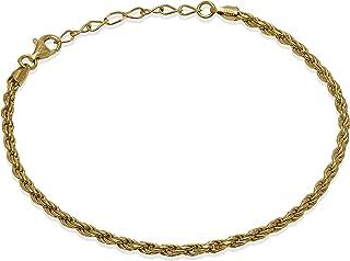 Romantico Casanova Rope Bracciale (Placcato Oro) 3 mm Uomo/Donna in Argento 925 - Made in Italy - ROPE - Lunghezza: 18,5 c...