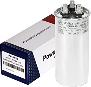 PowerWell 30 5 MFD uf 370 or 440 Volt Dual Run Round Capacitor PW-CAP-30/5/370-440R for Condenser Straight Cool or Heat Pump Air Conditioner