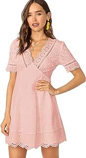 ROMWE Women's Elegant Plunging V Neck Eyelet Scallop A-line Dress