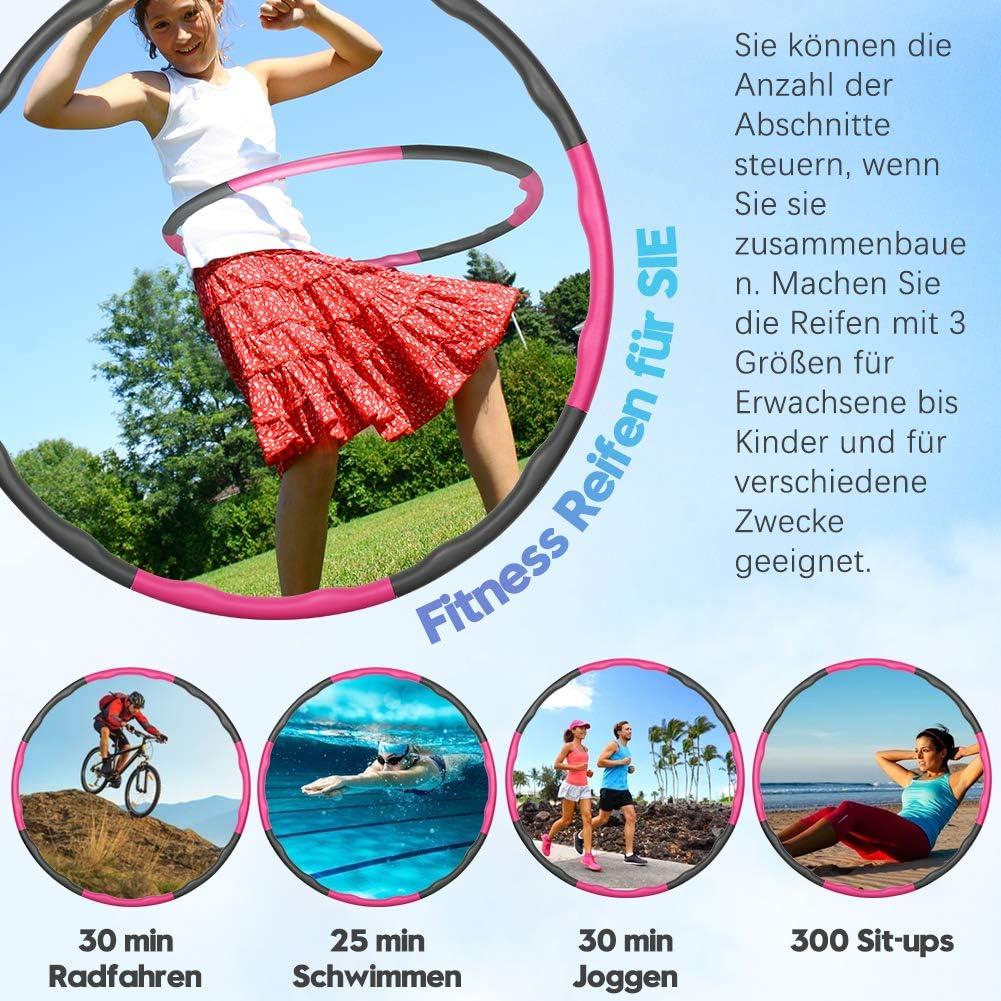 Foxmog Fitness Reifen Hoop f/ür Gewichtsabnahme und Massage 6-8 Verstellbare Abschnitte Reifen Hoop f/ür Erwachsene und Kinder f/ür Sport//Fitness//Zuhause//B/üRo//Bauchformung