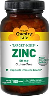 Country Life Target Mins Zinc 50 mg - 180 Tablets - Supports Prostate and Immune Health - Superior Absorption