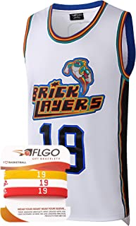 AFLGO Aaliyah Jersey #19 Brick Layers MTV Rock N Jock Basketball Jersey – 90's Clothing Throwback Costume Athletic Apparel Clothing Top Bonus Combo Set with Wristbands