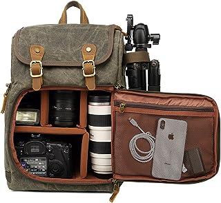 DSLR Camera Canvas Backpack Large Capacity Front Open Waterproof Anti-Shock SLR/DSLR Camera Rucksack Camera Travel Bag Pro...