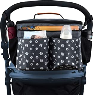 Universal Stroller Organizer Travel Bag - Large Parent Console with Cup Holders and Extra Storage Pockets for Bottles, Diapers, Toys, Saliva Towel - Fits All Baby Stroller Models