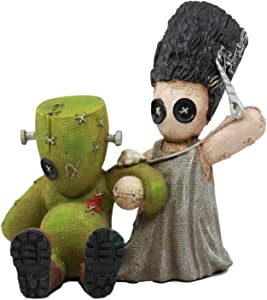 Ebros Day of The Dead Pinheadz Monster with Voodoo Stitches Figurine Halloween Collectible Toy Statue Fantasy Mythical Beings Undead Apocalypse Horror Icon (Mad Stitch Love Frankenstein and Bride)