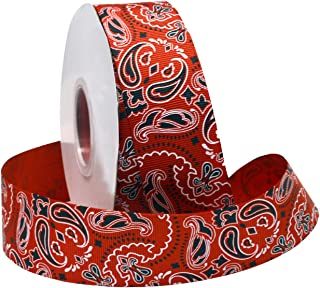 Morex Ribbon Bandana Grosgrain Fabric Ribbon with 1-1/2-Inch by 25-Yard Spool, Red