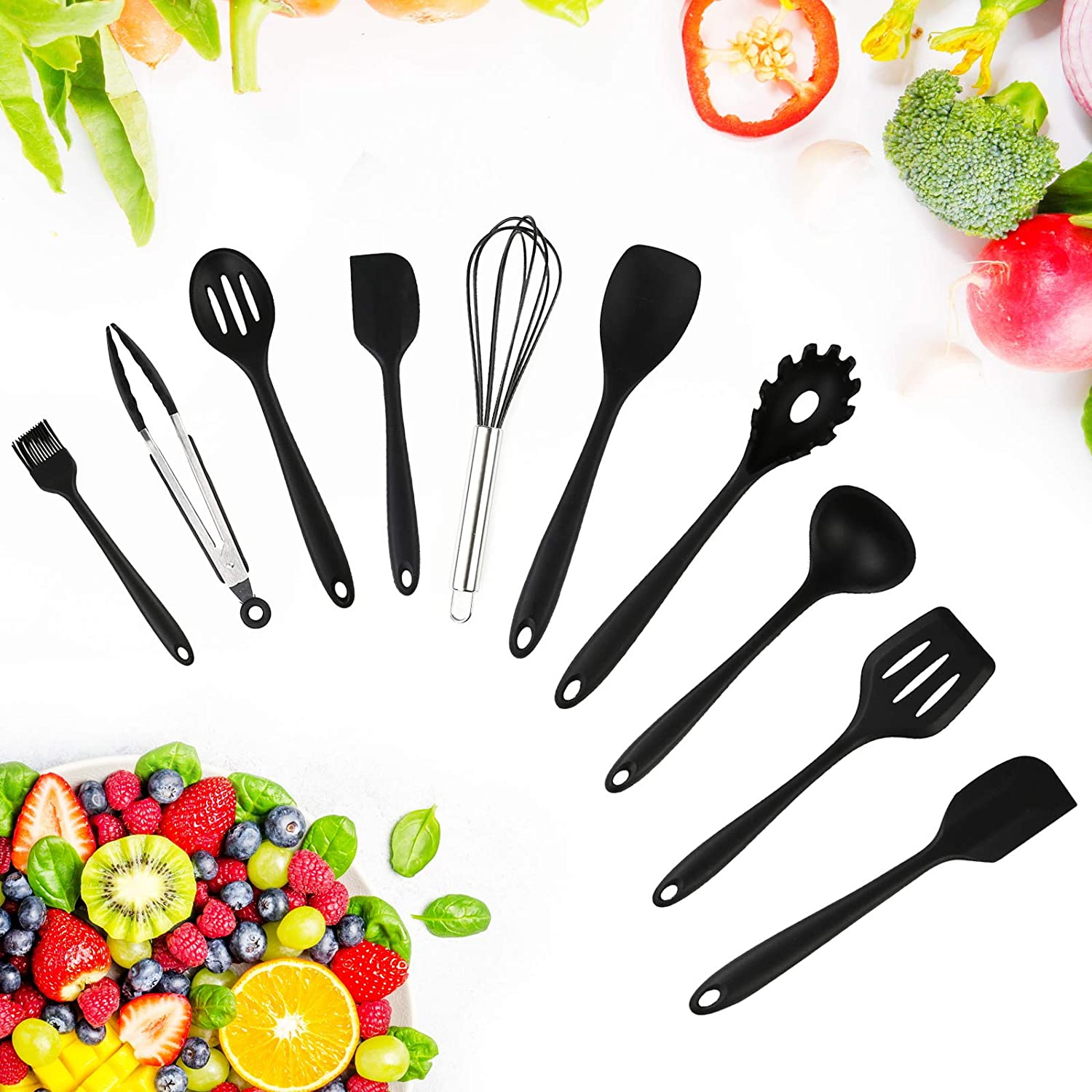 Silicone Now free shipping Cooking Max 58% OFF Utensil Set Kitchen Resistant Heat