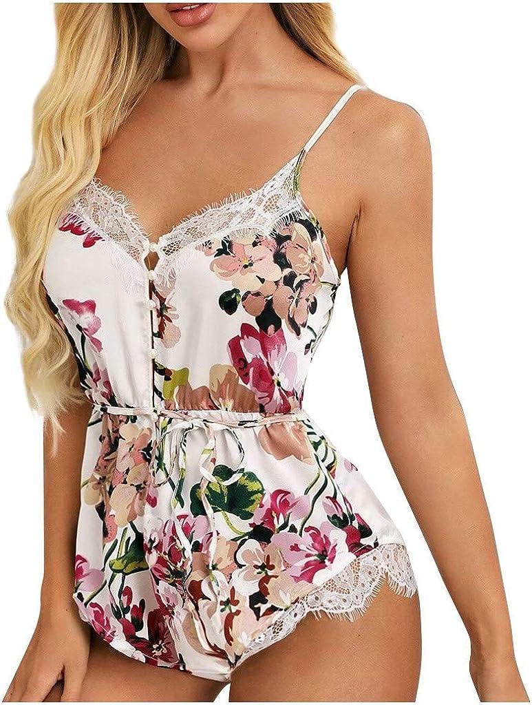 Forwelly Women Satin Bodysuit One Piece Babydoll Backless Mini Floral Print V Neck Lingerie