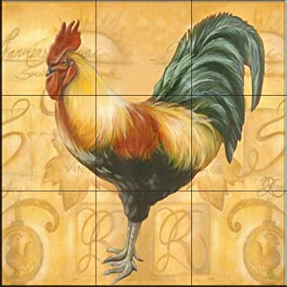 Ceramic Tile Mural - Rooster 6 - by Joelle Goff - Kitchen backsplash/Bathroom shower