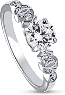 Rhodium Plated Sterling Silver Cubic Zirconia CZ Star Crescent Moon Promise Ring