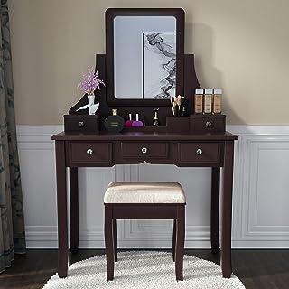 Allewie Vanity Table,Makeup Vanity Set Dressing Table with 5 Crystal Handle Drawers,Mirror,Cushioned Stool for Corner Bedr...