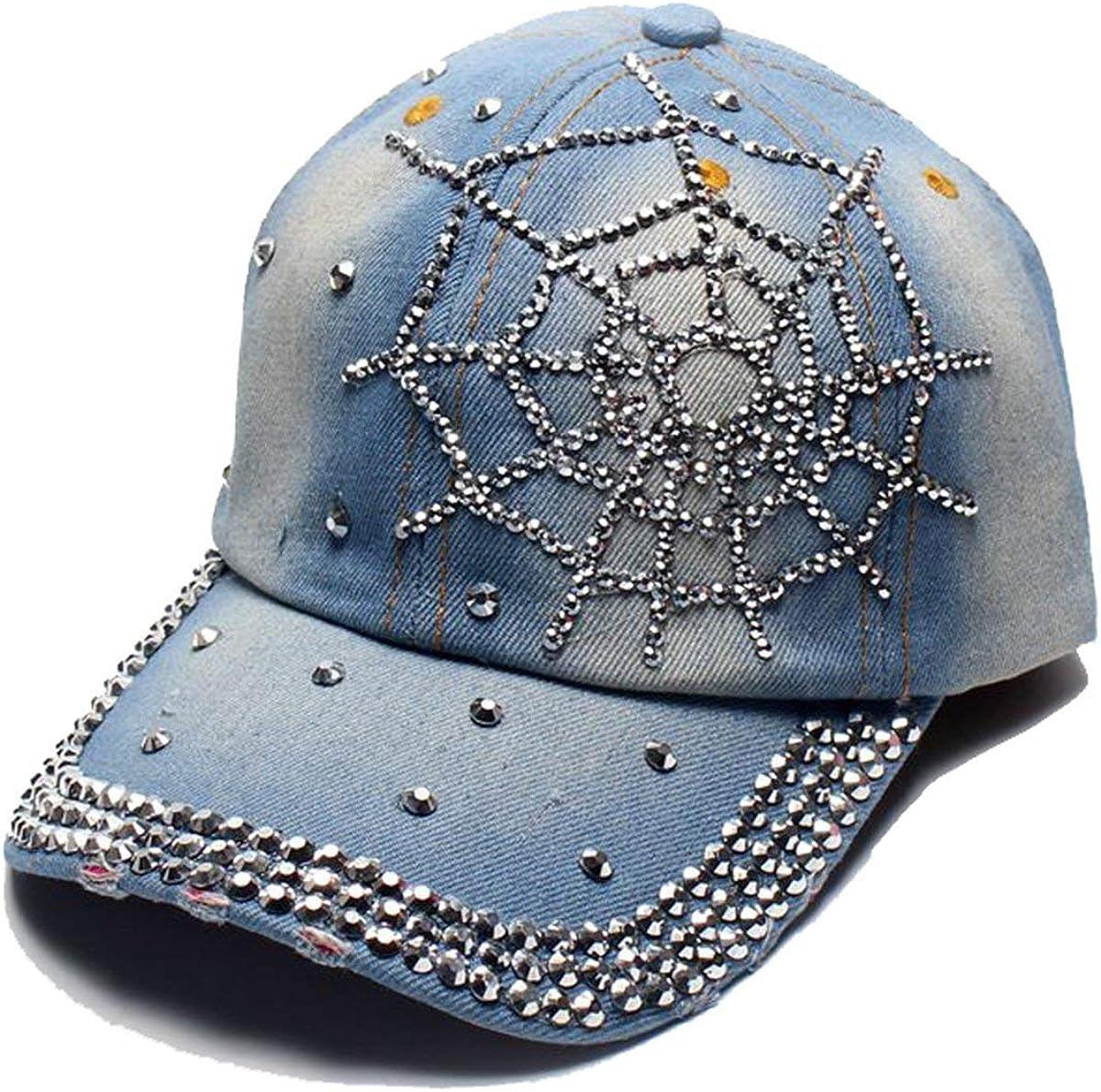 Cheerlife Damen Jeans Baseball Cap M/ütze Kappe mit Strass Schriftzug und Glitzer Hip Hop Hut