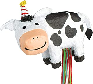 Ya Otta Pinata Pull String Birthday Cow Pinata, Birthday Party Activities, 2lb Filler Capacity, 18 x 7 1/2 x 15 Inches