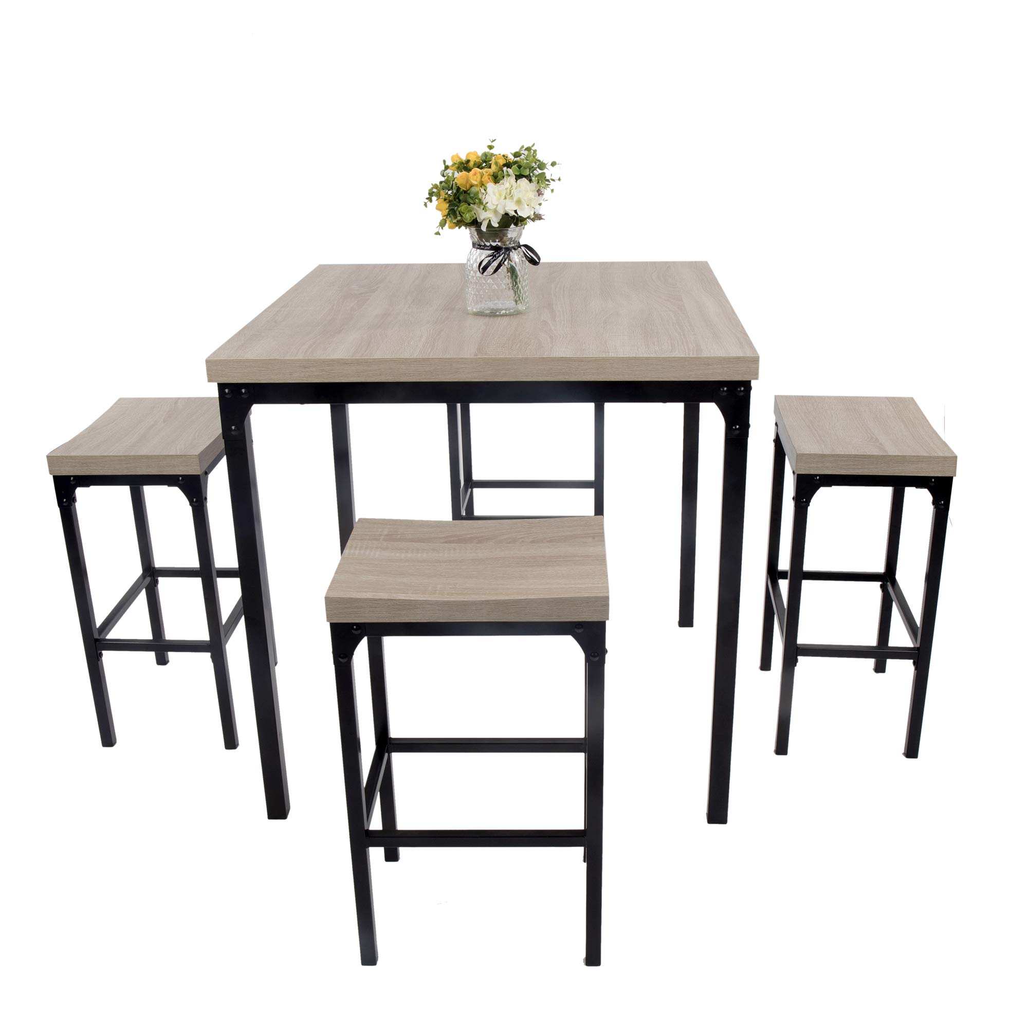 Luckyermore 5 Piece Pub Dining Table Set Kitchen Table And Chairs For 4 Bar Stool Industrial Style Counter Height Square Dinette Set Buy Online In Montenegro At Montenegro Desertcart Com Productid 111540683