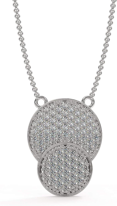 Rikhhava Diamonds Cricle Necklace for Women jewelry with 10k White Gold 0.54 Carat (I-J/I1-I2) IGI Certified
