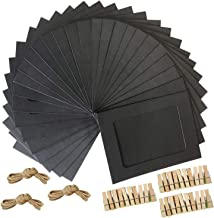 SP-ROSE Paper Photo Frame 4X6 Kraft Paper Picture Frames 10 Pcs DIY Cardboard Photo Frames with Wood Clips and Jute Twine,Black