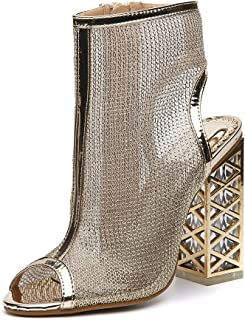 ALUA- Women's shoes - Europe and the United States crystal with open-toed sandals hollow mesh high-heeled shoes ( Color : Gold , Size : 37-Shoes long235mm )