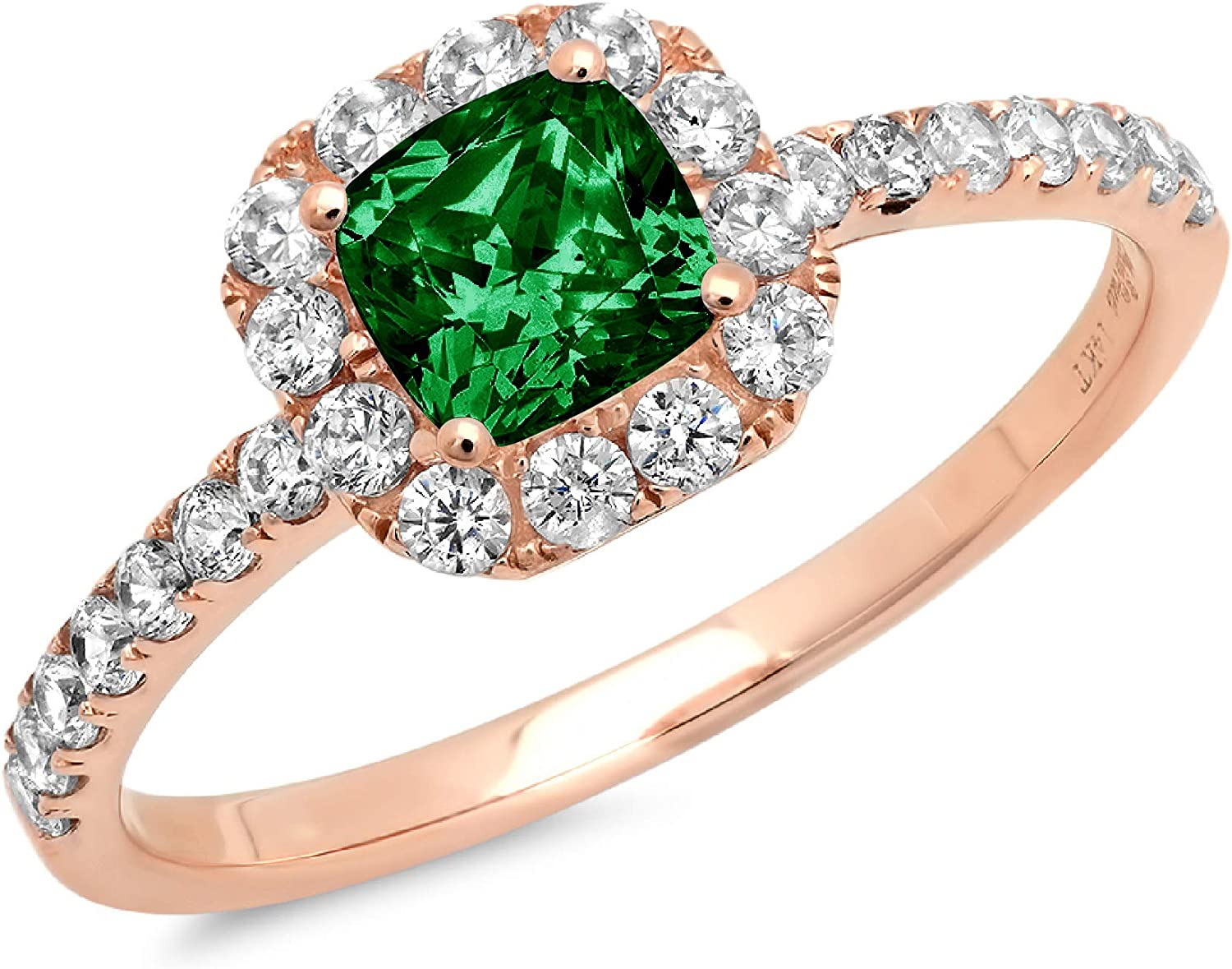 1.34ct Brilliant Princess Cut Solitaire with accent Flawless Ideal VVS1 Simulated CZ Green Emerald Engagement Promise Statement Anniversary Bridal Wedding Designer Ring 14k Rose Gold