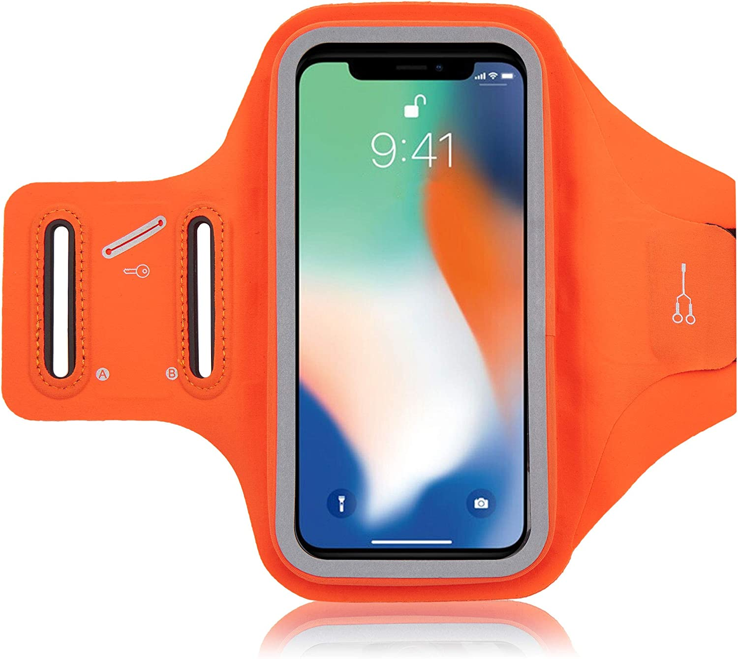 Water Resistant Armband Phone Holder,Cell Phone Running arm Band for iPhone 12 Pro 11 Pro Max X XR XS 8 7 6 6s Plus,Galaxy S20 S10 S9 Plus, for Outdoor Sports,Cycling Gym (Orange)