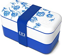 monbento - MB Original Porcelaine blue / white bento box - 2 tier leakproof lunch box for work/school lunch packing and meal prep - BPA free - Food grade safe food containers