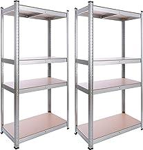 Arebos set van 2 | voor zware lasten kelderrek | opslagrek | steekrek | 160 x 80 x 40 cm | 4 MDF-platen | 320 kg