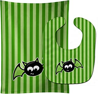 Caroline's Treasures Halloween Bat Green Stripes Baby Bib & Burp Cloth, Multicolor, Large