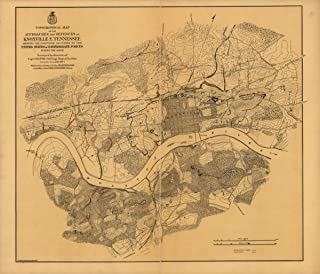 """1864 Civil War Knoxville, Tennessee Topographical of The approaches and d- 20"""" x 24"""" Map - Frame Ready"""