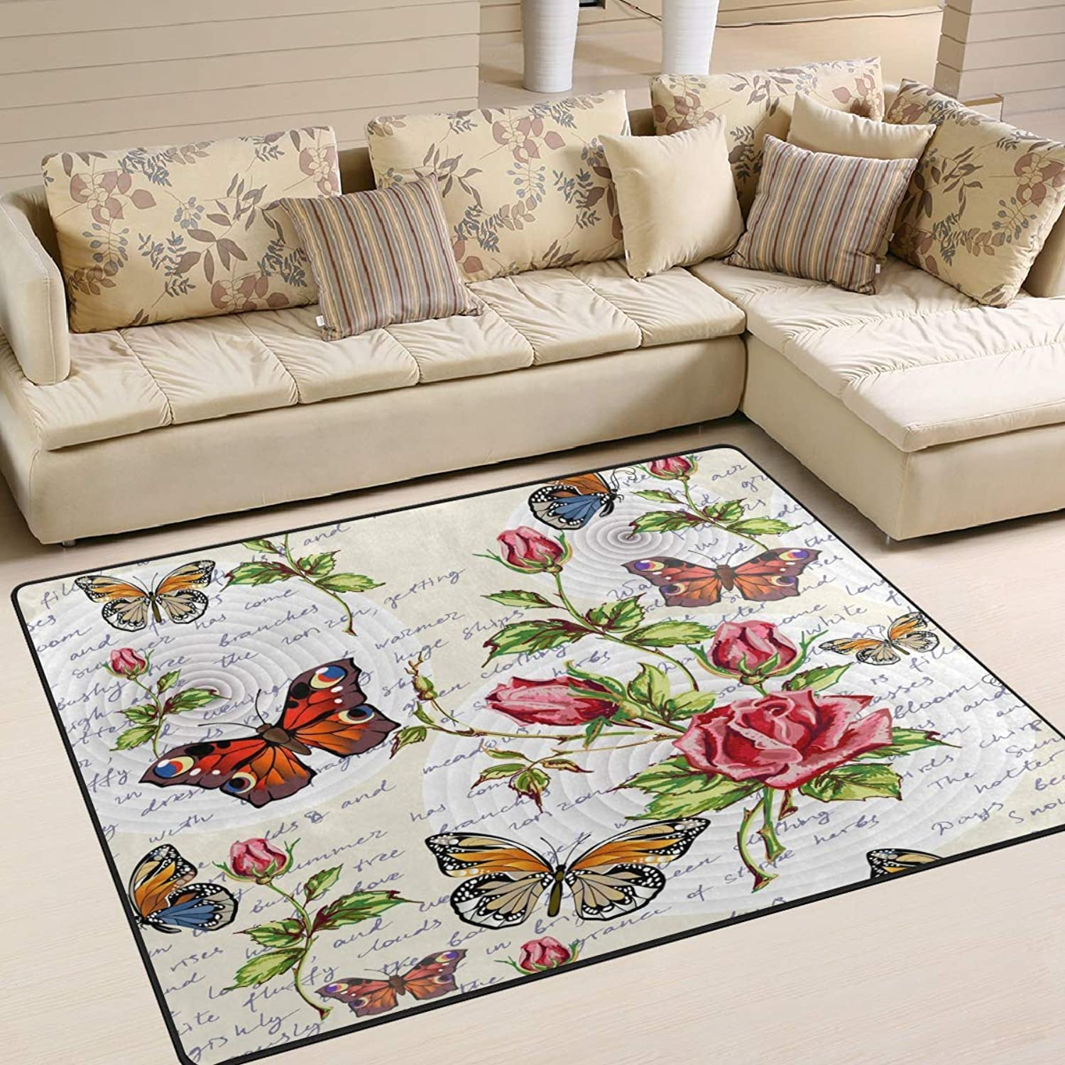 Vintage Flower Print Flower Butterfly Area Rug Floor Mat Rug Indoor Front Door Kitchen and Living Room Bedroom Mats Rubber Non Slip