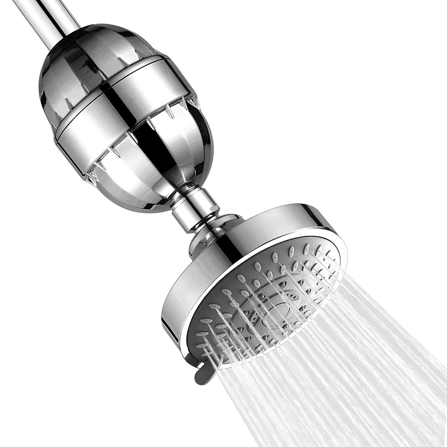 4'' High Pressure Rain Shower Head with Shower Filter, 5-setting Adjustable Rainfall Shower Head,15 Stage Replaceable Showerhead Filter For Hard Water Removes Chlorine and Harmful Substances - Chrome