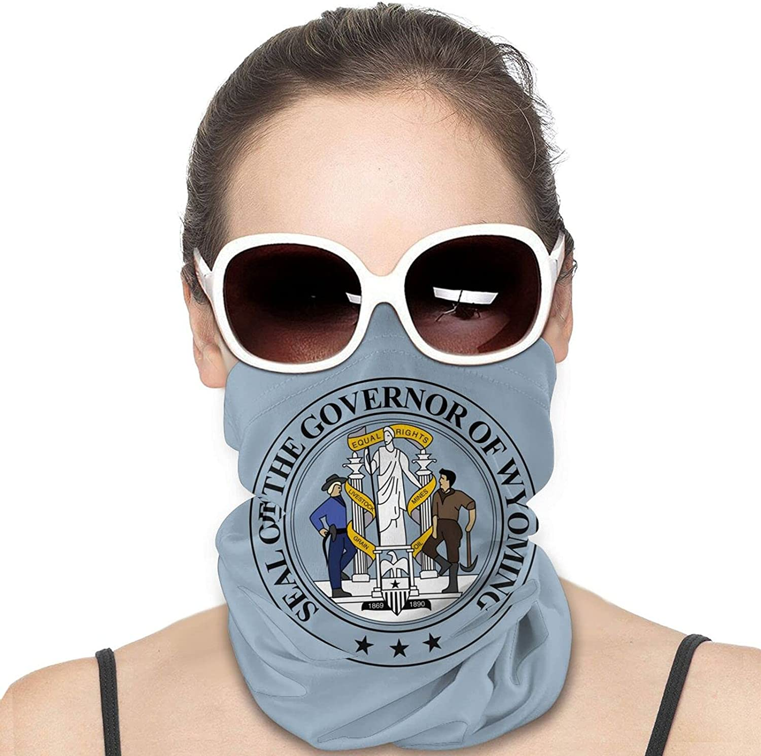 Seal of the State of Wyoming Round Neck Gaiter Bandnas Face Cover Uv Protection Prevent bask in Ice Scarf Headbands Perfect for Motorcycle Cycling Running Festival Raves Outdoors
