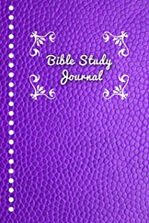 Bible Study Journal: Journaling Notebook Workbook Soft Cover Purple Faux Leather 90 Days To Record Bible Studies 6x9