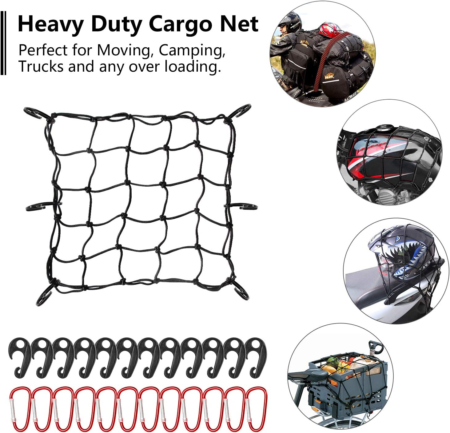 Bungee Net Stretches to 32 x 32  40 Luggage Fixed Strap Rope  8 Steel Carabiners+6 Hooks  3x3 Grid Holds Loads Tighter for Moving and Trucks Camping Red 16x16 Super Duty Cargo Net