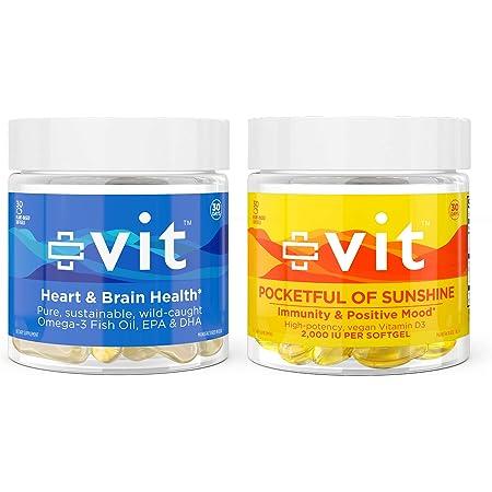 Vit - Omega-3 Wild Caught Fish Oil, Hearts & Minds and Vitamin d3 2000 iu softgels Pocketful of Sunshine   Non-GMO, Gluten Free - 30 Serving Each