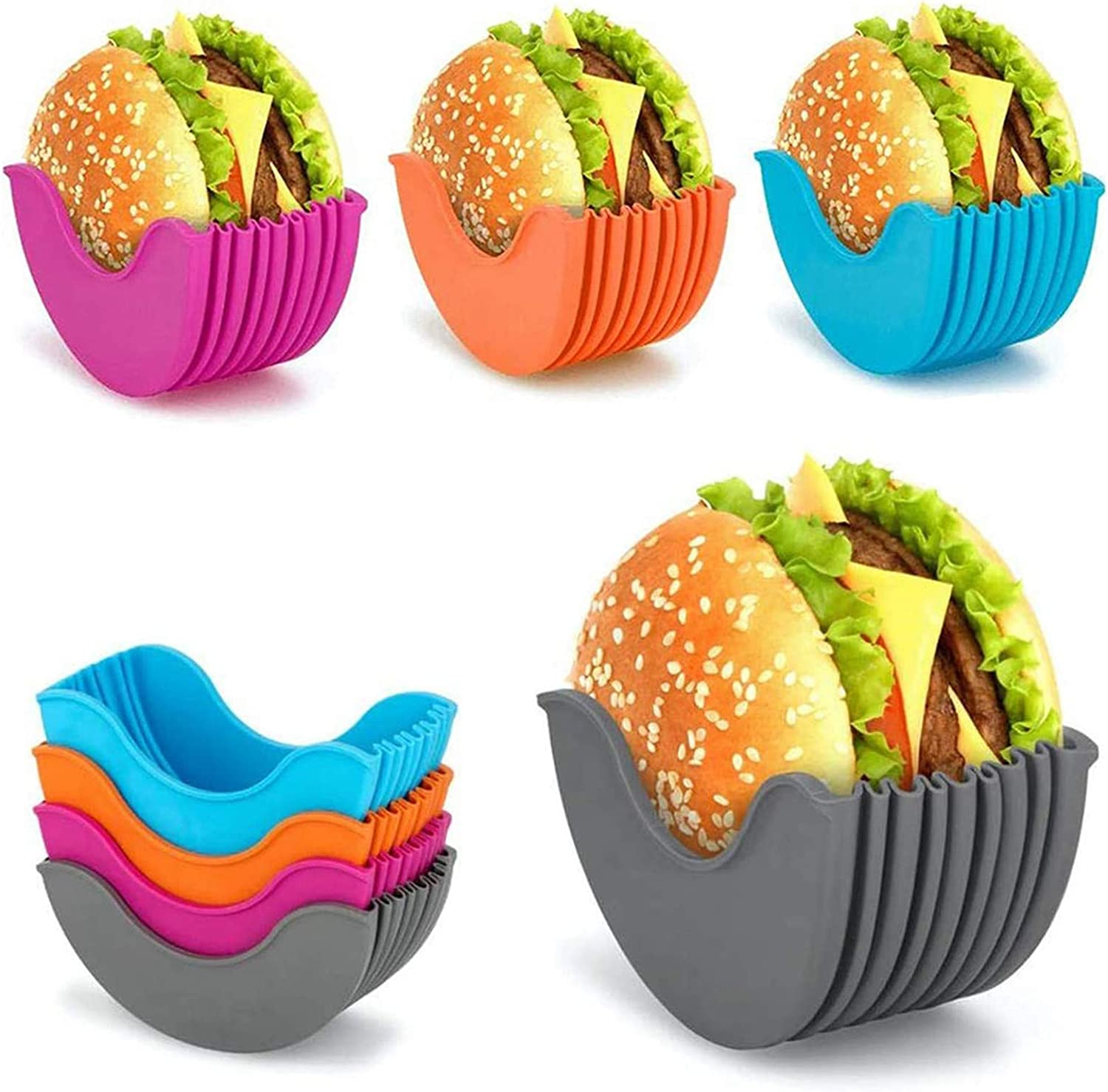 4PCS Retractable Burger Holder,Reusable Burger Buddy Fixed Box,Silicone Rack Holder Burger Box Sandwich Holder Suitable for Burger Lovers Adults and Children 4PCS
