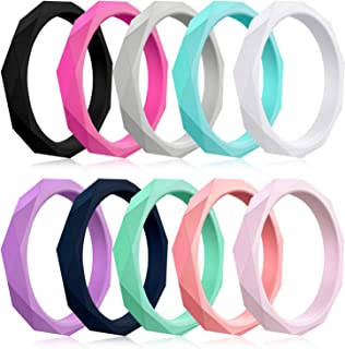 Mokani 10/4/1 Pack Silicone Wedding Ring for Women, Thin and Stackable Rubber Band, Fashion, Colorful, Comfortable fit, Skin Safe