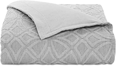 Hotel Collection Connections Full Queen Cotton Duvet Cover Gray with Interlocking-Medallion Pattern